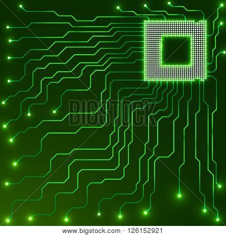 Cpu. Microprocessor. Microchip. Circuit board, vector illustration, eps 10