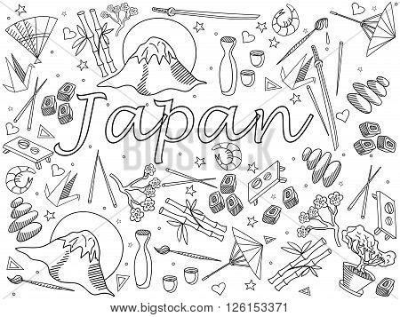 Japan coloring book line art design vector illustration. Separate objects. Hand drawn doodle design elements.