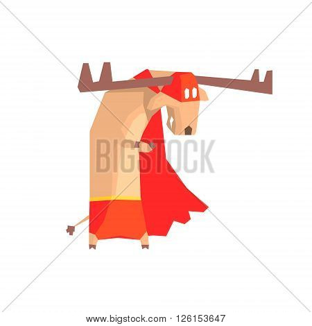 Moose Super Hero Character Flat Geometrical Design Cool  Vector Icon On White Background