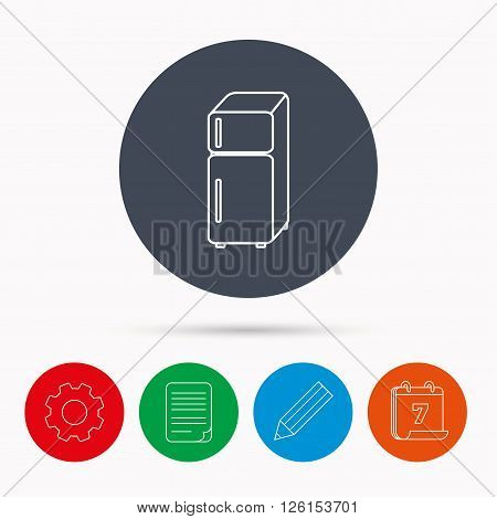 Refrigerator icon. Fridge sign. Calendar, cogwheel, document file and pencil icons.