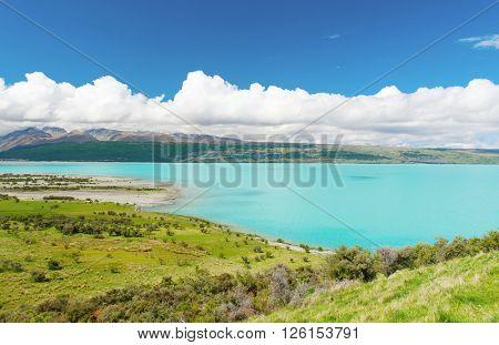 Beautiful incredibly blue lake Pukaki at New Zealand