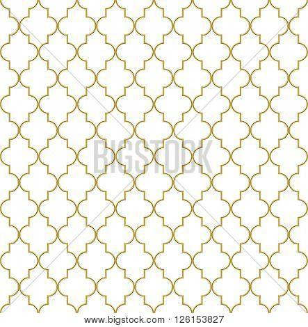 Seamless golden oriental window grille pattern.