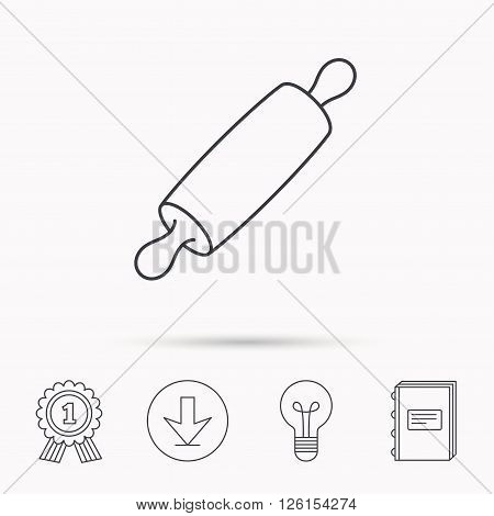 Rolling pin icon. Kitchen baker roller sign. Download arrow, lamp, learn book and award medal icons.