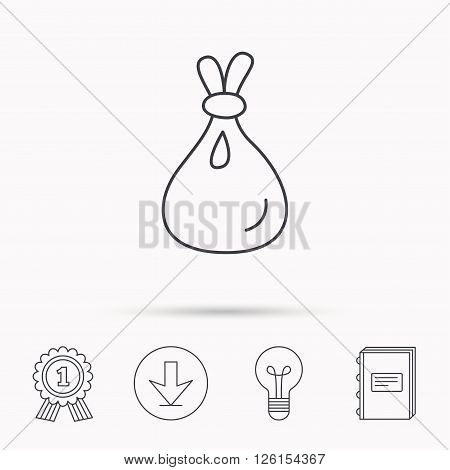 Burlap sack icon. Textile bag sign symbol. Download arrow, lamp, learn book and award medal icons.