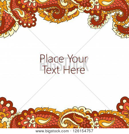 Abstract horisontal paisley border. Good  for page decoration, invitation, greetings cards  or announcements. Copy-space