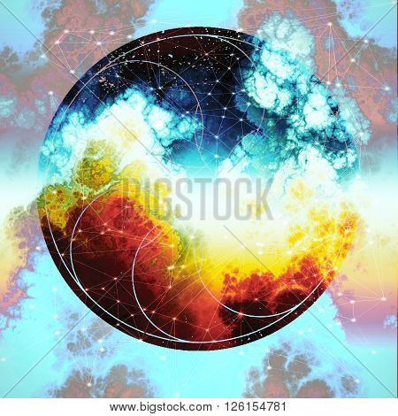sacred geometry nebula, galaxy abstraction geometry design, god touch space geometry abstract