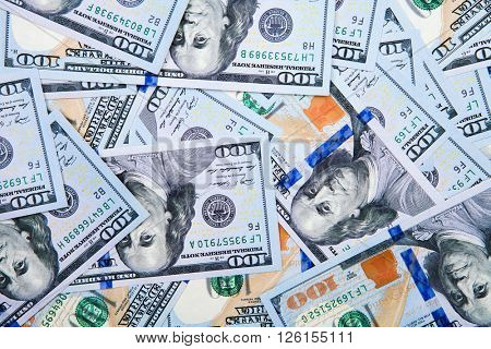 new 100 dollars by close up