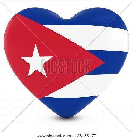 Love Cuba Concept Image - Heart Textured With Cuban Flag