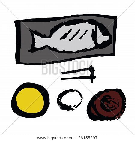 Saba mackerel or Japanese mackerel fish served with bowl of rice and miso soup hand draw sketch with coloring isolated on white background
