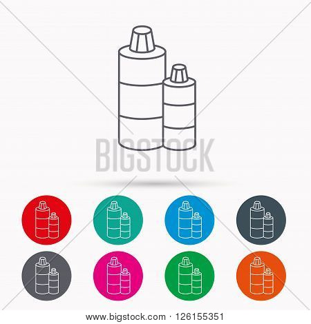 Shampoo bottles icon. Liquid soap sign. Linear icons in circles on white background.