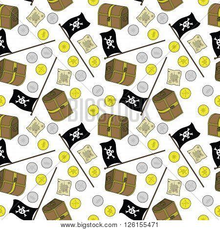 Pirate Treasure Seamless Pattern