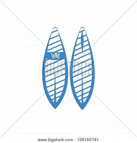 Two Sides Of Surfboard Blue Silhouette Stylized Design Vector Print On White Background