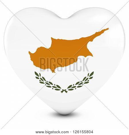 Love Cyprus Concept Image - Heart Textured With Cypriot Flag