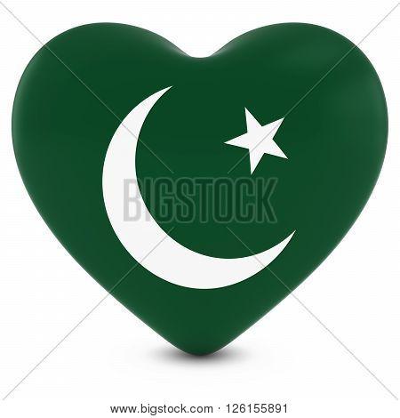 Love Pakistan Concept Image - Heart textured with Pakistani Flag