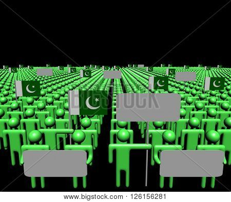 Crowd of people with signs and Pakistani flags 3d illustration