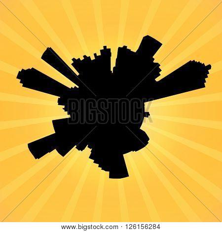 Circular Atlanta skyline on sunburst illustration