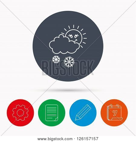 Snow with sun icon. Snowflakes with cloud sign. Snowy overcast symbol. Calendar, cogwheel, document file and pencil icons.