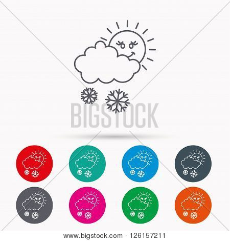 Snow with sun icon. Snowflakes with cloud sign. Snowy overcast symbol. Linear icons in circles on white background.