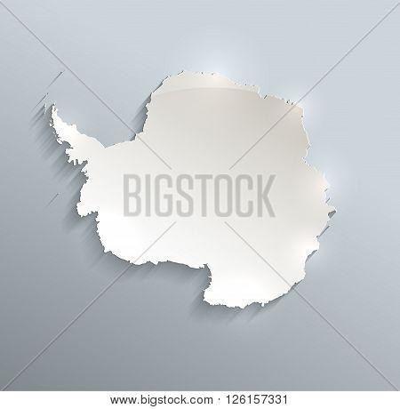 Antarctica map blue white card paper 3D raster