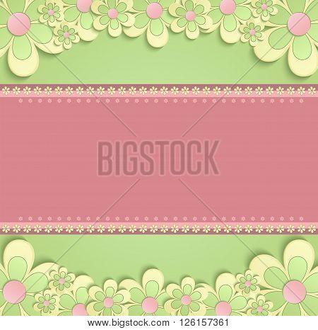 greeting card flowers 3D congratulations green pink raster