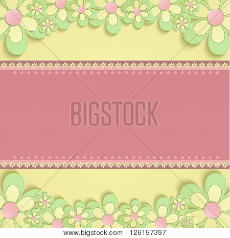 greeting card flowers 3D congratulations yellow pink raster