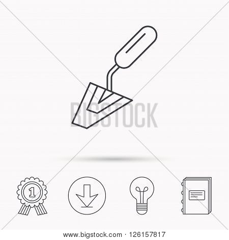 Spatula icon. Finishing repair tool sign. Download arrow, lamp, learn book and award medal icons.