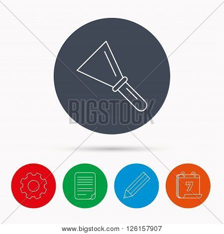 Spatula icon. Finishing repair tool sign. Calendar, cogwheel, document file and pencil icons.