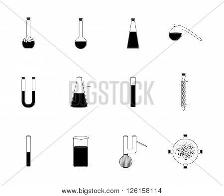 Vector illustration icons set of chemistry, physics, biology laboratory apparatus. Chemical test tubes  icons illustration vector
