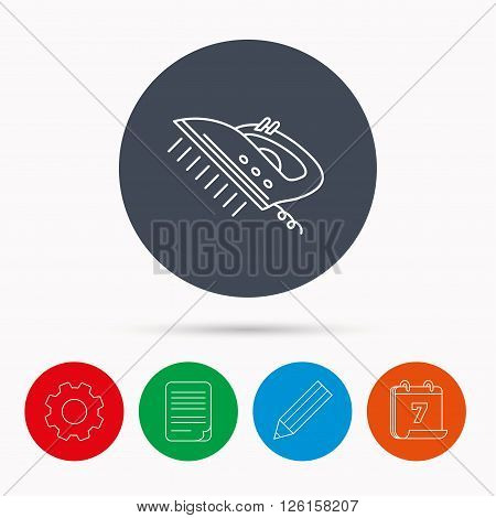 Steam ironing icon. Iron housework tool sign. Calendar, cogwheel, document file and pencil icons.