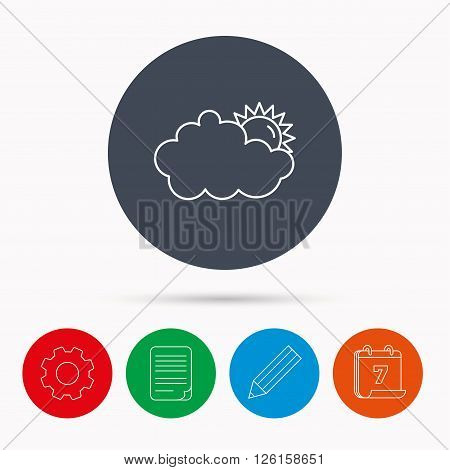 Sunny day icon. Summer sign. Overcast weather symbol. Calendar, cogwheel, document file and pencil icons.