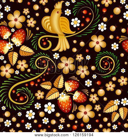 Seamless pattern in Khokhloma style - traditional Russian painting, with bird, strawberry and flowers on a black background.