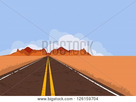 Road In Desert And Mountains. Nature Vector Background With Copy Space.