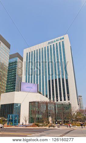 SEOUL SOUTH KOREA - MARCH 14 2016: Office building of Standard Chartered in Seoul Korea. Standard Chartered PLC is a British multinational banking and financial services company