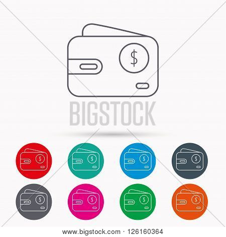 Dollar wallet icon. USD cash money bag sign. Linear icons in circles on white background.