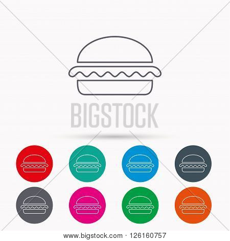Vegetarian burger icon. Healthy fast food sign. Burger symbol. Linear icons in circles on white background.