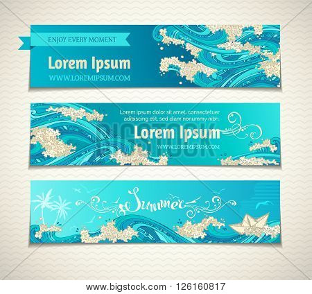Set Of Sea/ocean Horizontal Banners.
