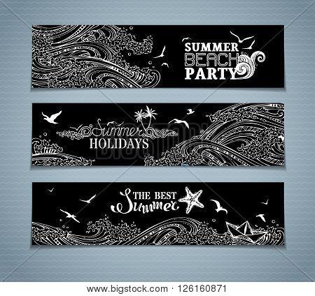 Vector Set Of Chalk Sea/ocean Horizontal Banners.