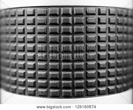 Rubber convex surface. Selective focus. Macro. Close up view. Vintage photo. Black and white.