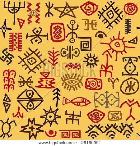 Seamless background with hand drawn ethnic symbols