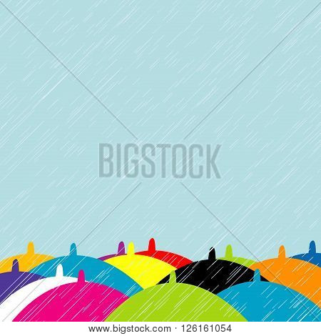 Illustration of colorful umbrellas in rainy summer day