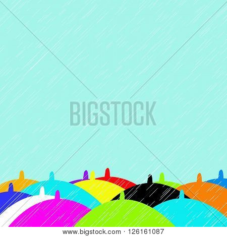 Background with colorful umbrellas in rainy summer day