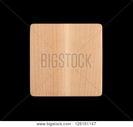 Square wooden drink coaster on black background