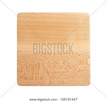 Square wooden drink coaster, isolated on white