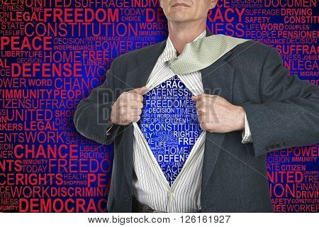 Businessman showing superhero suit underneath his shirt standing against human rights background