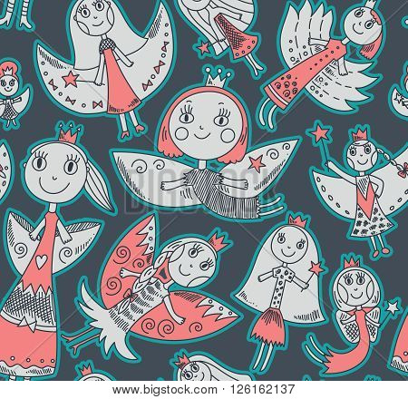 Vector Seamless Pattern With Cute Fairies In Children's Drawing Style.