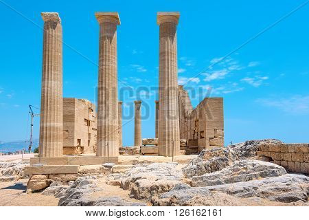 Temple of Athena Lindia in the Acropolis. Rhodes Dodecanese Islands Greece Europe