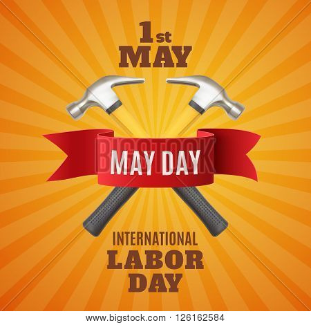 May Day. May 1st. Labor Day background with two hummers and red ribbon. Poster, greeting card or brochure template. Vector illustration.