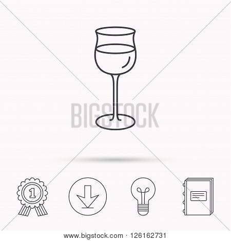 Wineglass icon. Goblet sign. Alcohol drink symbol. Download arrow, lamp, learn book and award medal icons.