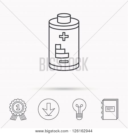 Battery icon. Electrical power sign. Rechargeable energy symbol. Download arrow, lamp, learn book and award medal icons.