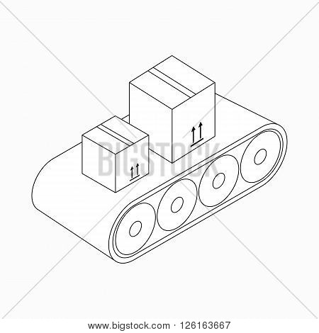 Conveyor belt with boxes icon in isometric 3d style isolated on white background